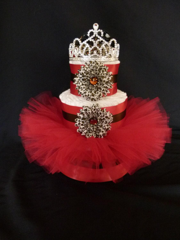 diva princess red cheetah tutu baby diaper cake by mamabijou