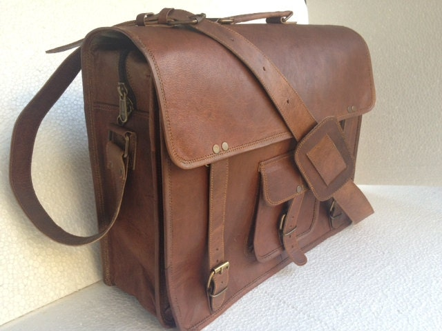 Leather messenger bag 16 inch briefcase over-lander retro laptop office satchel travel shoulder bag