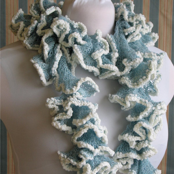 Light Blue Knit Curly Scarf Ocean Waves by KnitPurlSquirrel