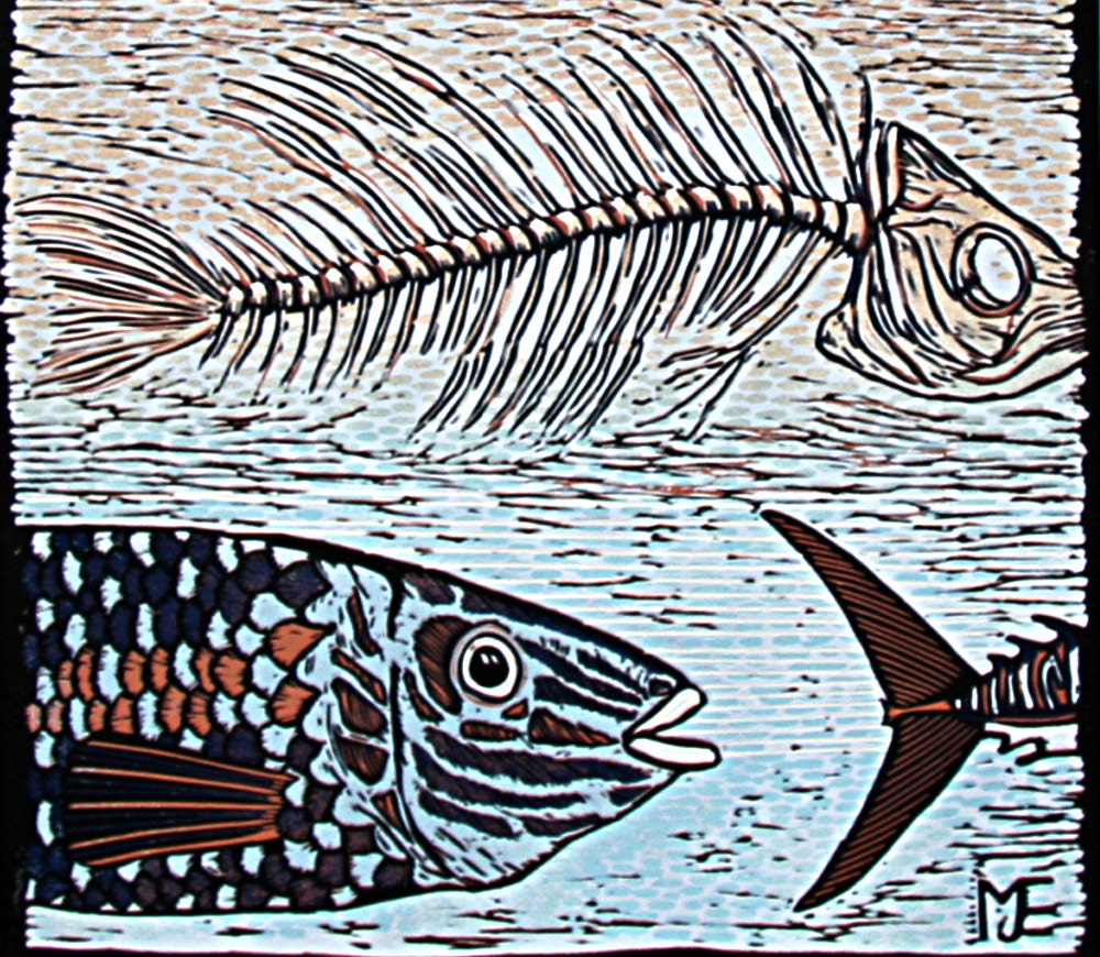 Linocut art print big blue fish blue russet by linocutheaven for Big fish printing