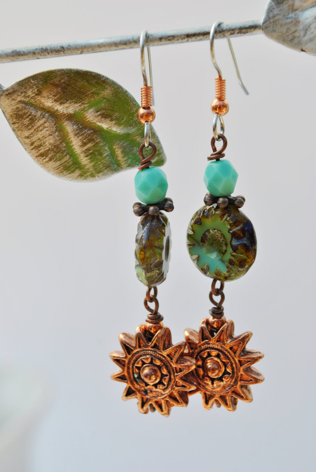 Turquoise blue Czech glass and copper sun face earrings - Beechtree