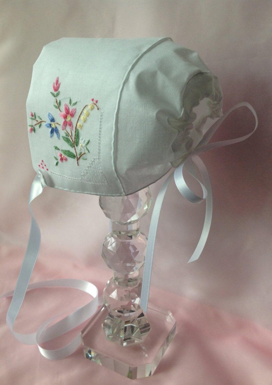 Bonnet Newborn-3 months,Hanky Bonnet - myheavenlydesigns