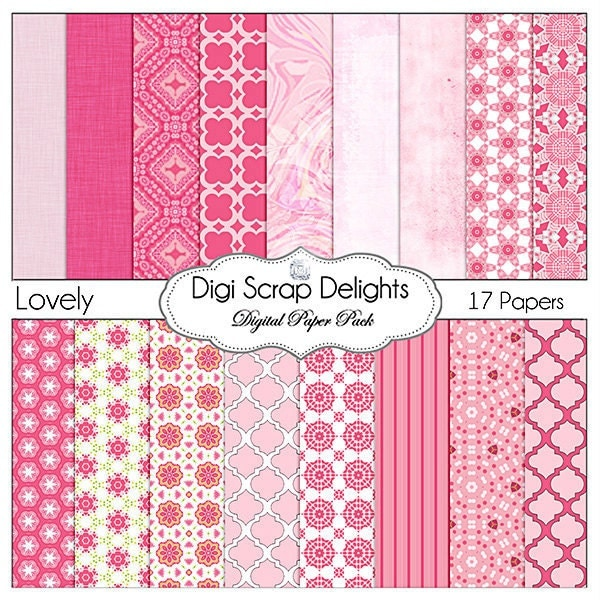 digital scrapbook papers pink