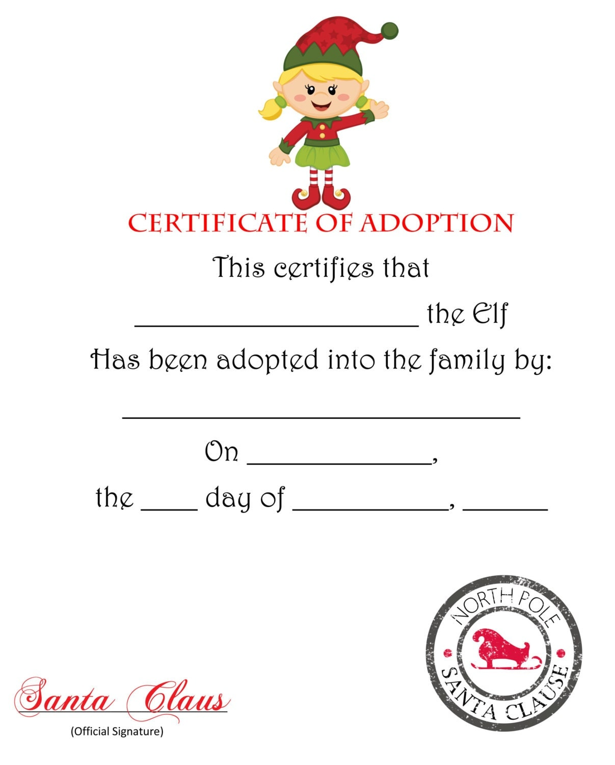 Elf on the Shelf Certificate of Ado ption- Blonde girl Elf- PDF Elf on ...