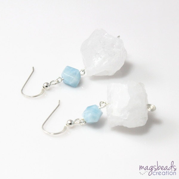 Rough Quartz Earring, Aquamarine Earrings, Chunky Quartz Earring, Rough Stone, Rock Crystal, Pastel Blue Earrings, Winter Shade - magsbeadscreation