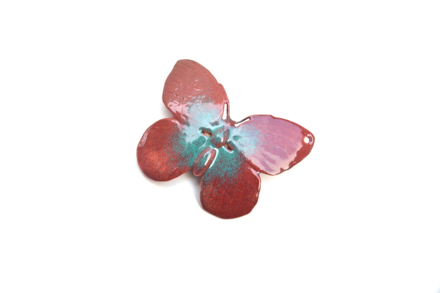 Enamel Butterfly - Torch fire Enamel Flower, enamel brass - ArtIncendi