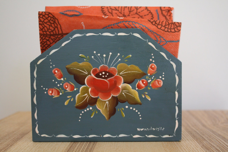 Vintage Norwegian Rosemaling Napkin Holder By Hyggeligtgenbrug