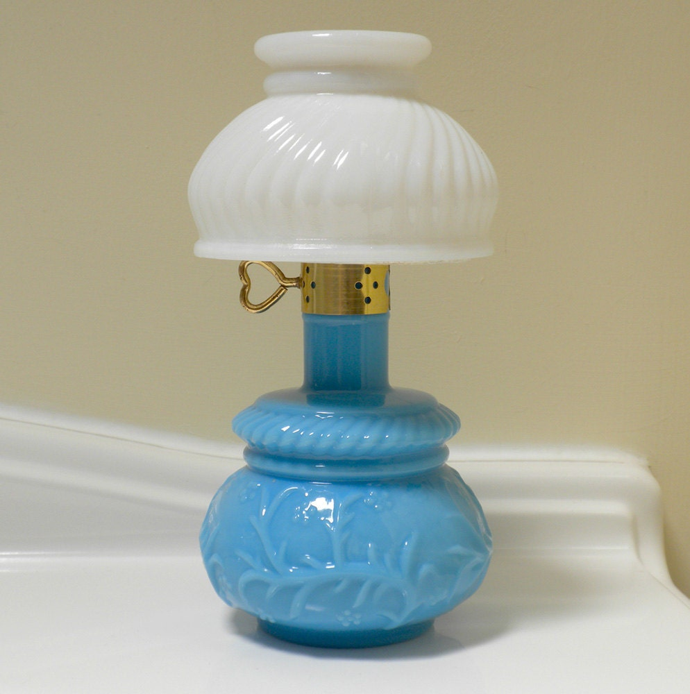 Vintage Avon Milk Glass Courting Lamp Oil Lamp Blue Glass Decanter