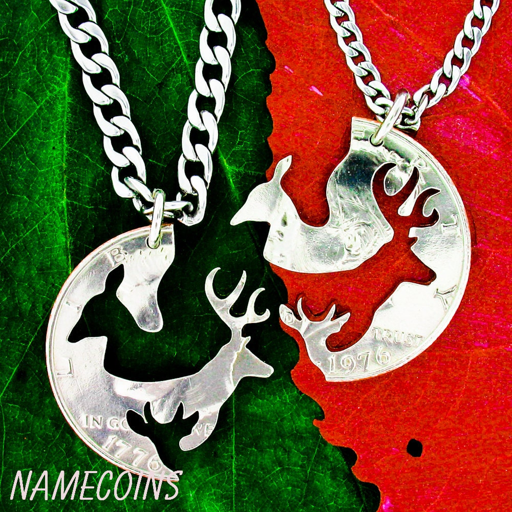 buck and doe and child necklace set buck doe and fawn by