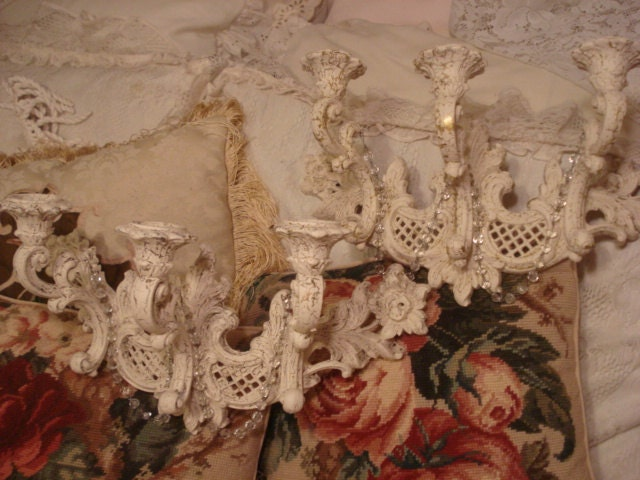 Vintage Crystal Wall Candelabra Sconces Pair by GraceandPlenty