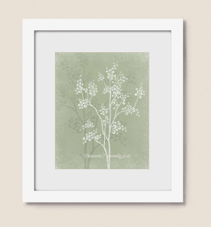 Sage Green Tree Wall Art 8 X 10 Print By Naturesheavenlyart