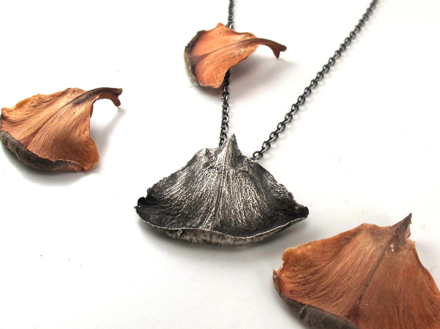 Sterling Silver Pinecone Petal Necklace - rubygirl