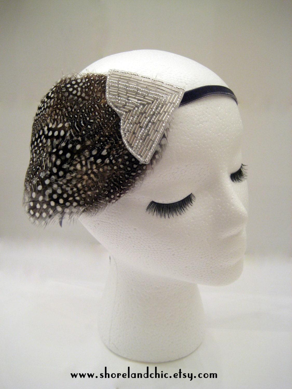 The Shirley  1920s headband flapper hairpiece polka dot headband 1920s polka dot feather fascinator silver beaded headband $28.00 AT vintagedancer.com