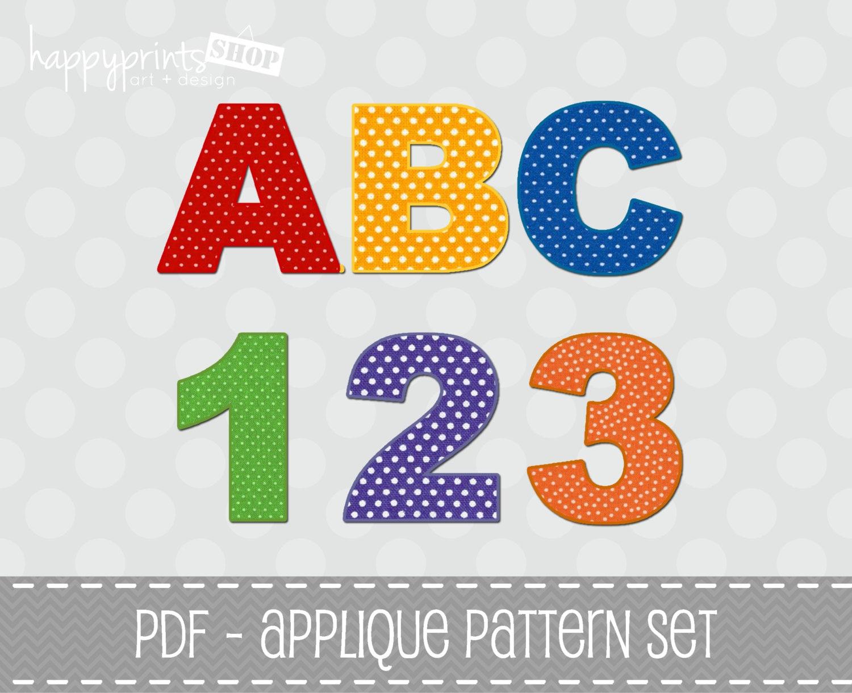 Applique Template - ABC 123 Applique Patterns Set - Complete Alphabet, Numbers & Symbols - PDF File - Commercial Use - INSTANT Download - happyprintsshop