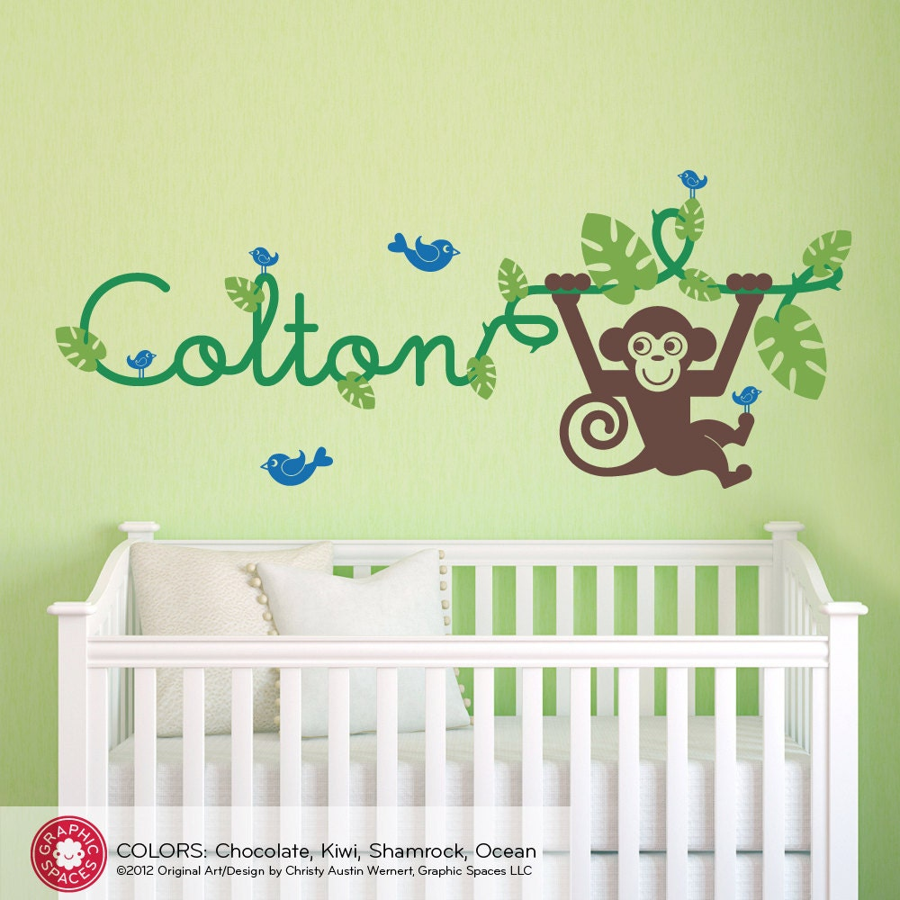 kids jungle nursery monkey wall decal baby name by graphicspaces