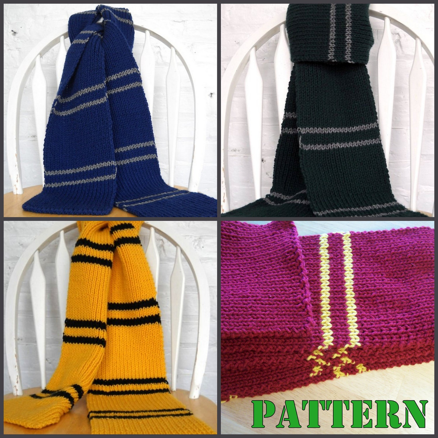 Knitting Pattern For Gryffindor Scarf : KNITTING PATTERN Hogwarts Inspired House Scarves by LowlaBug