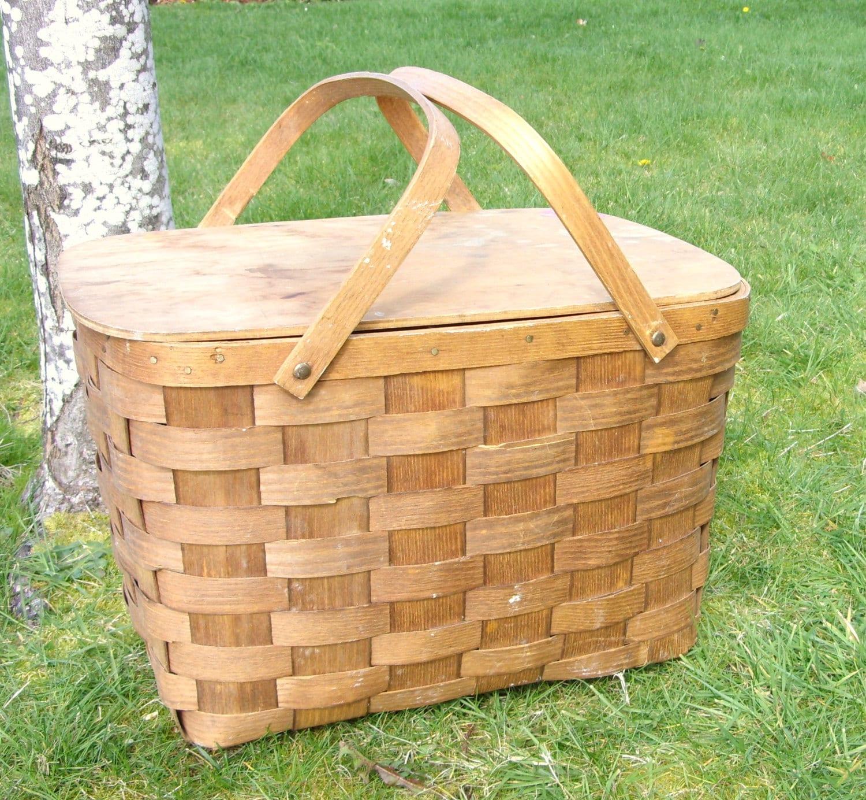 Wooden Picnic Basket Set : Sale big wooden picnic basket natural wood large by