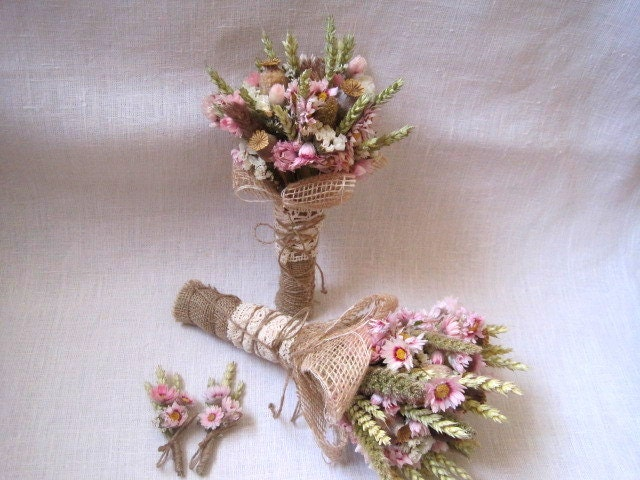 Wedding country bouquet set shabby chic pastel wedding ,wheat bouquets ,rustic wedding ,dried flowers bouquets and buttonholes farm wedding - FlowerDecoupage