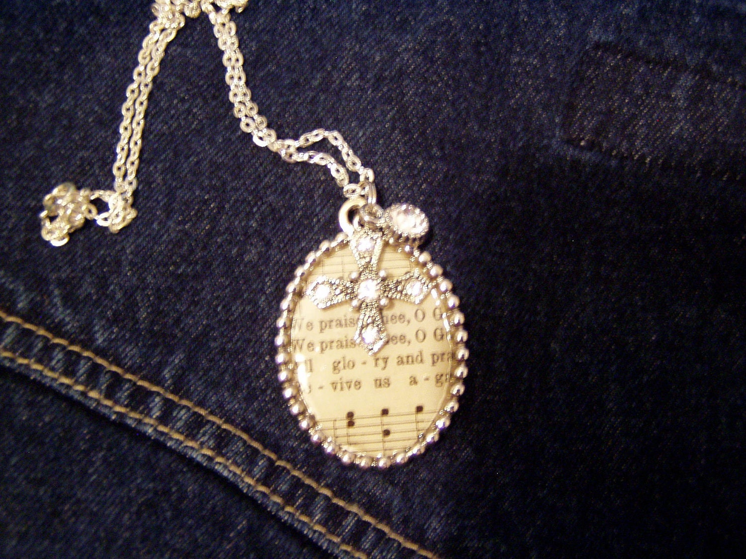 "Handmade Hymnal Pendant/Necklace ""We Praise Thee"" w/ Cross"