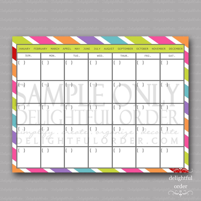 Blank Calendar Colorful : Colorful calendar pdf printable file by delightfulorder