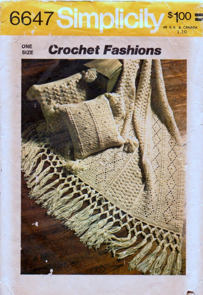 Vintage Crochet Pattern Simplicity 6647 Afghan By