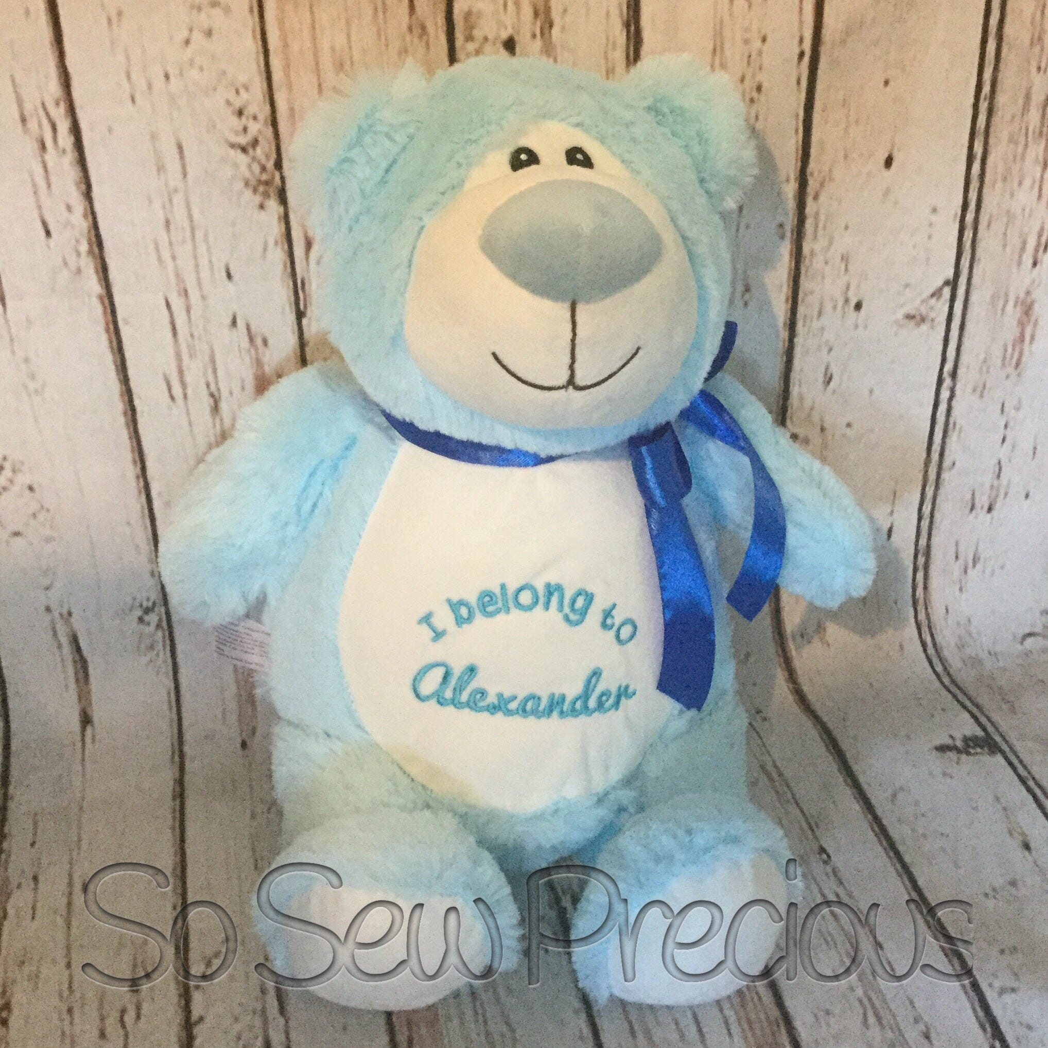 Cubbie Blue Bear New Baby Gift Personalised Teddy Bear Christening Gift Stuffie