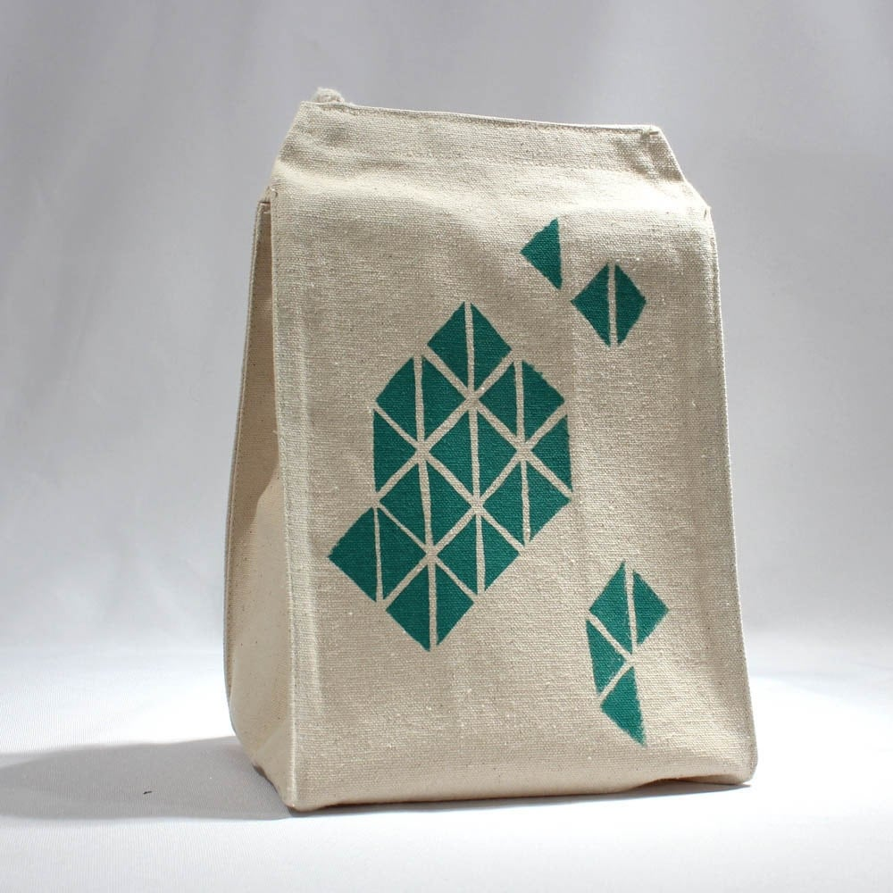 Recycled cotton lunch bag geometric triangle print with green water based ink - LEFTright