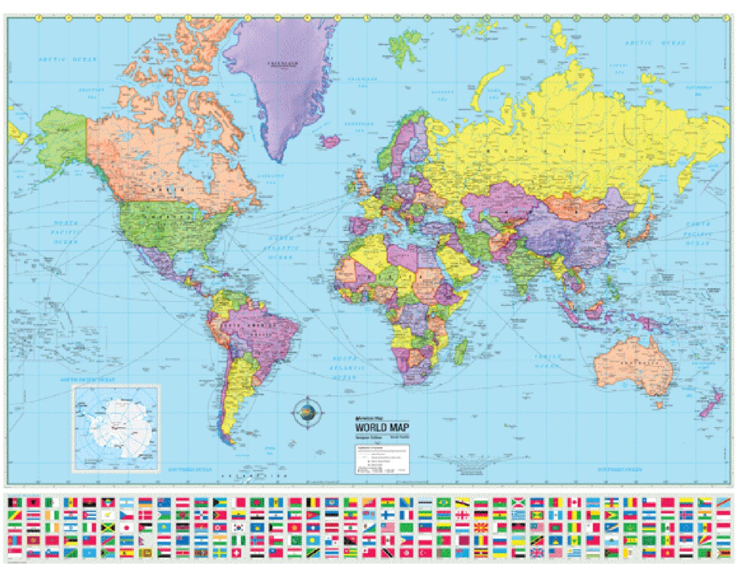 WORLD Wall Map Country Flags Poster Earth Globe by CoolOwlMaps
