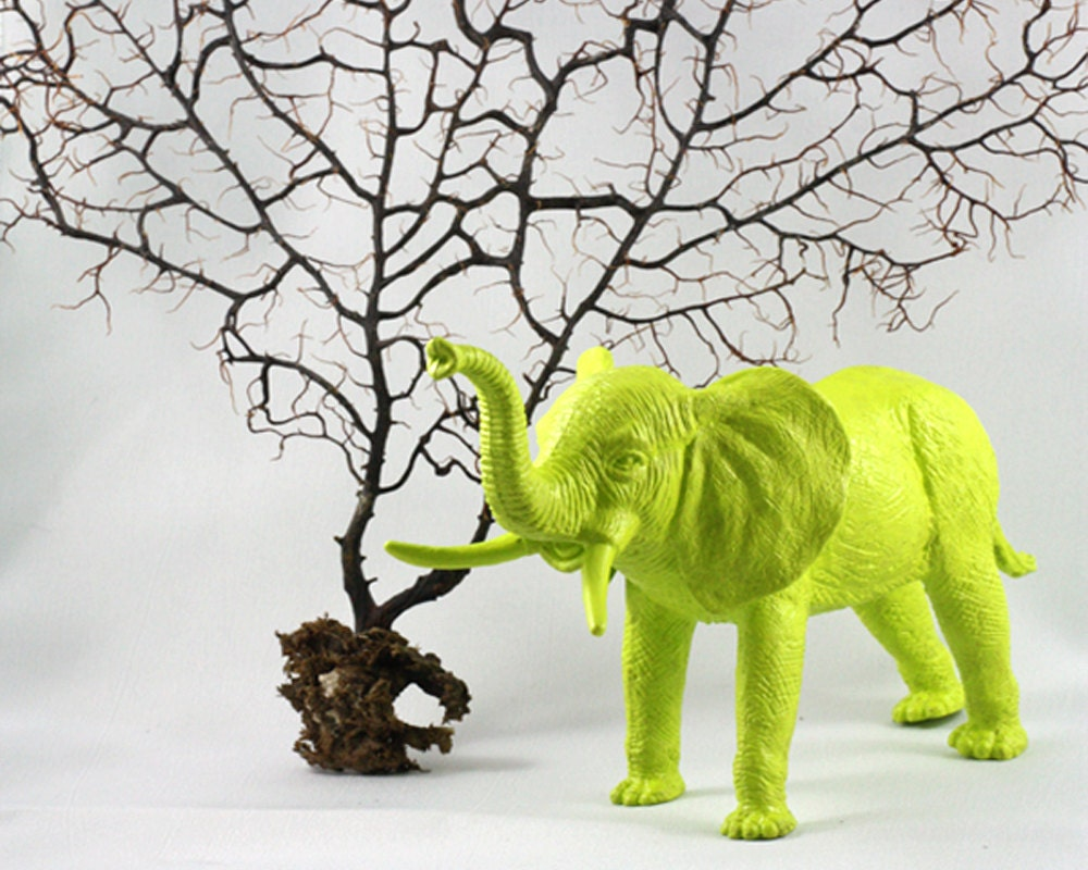 Chartreuse Elephant Miniature Figurine painted yellow green - stand him up at your work desk or home desk - OriginalAnimalMagnet