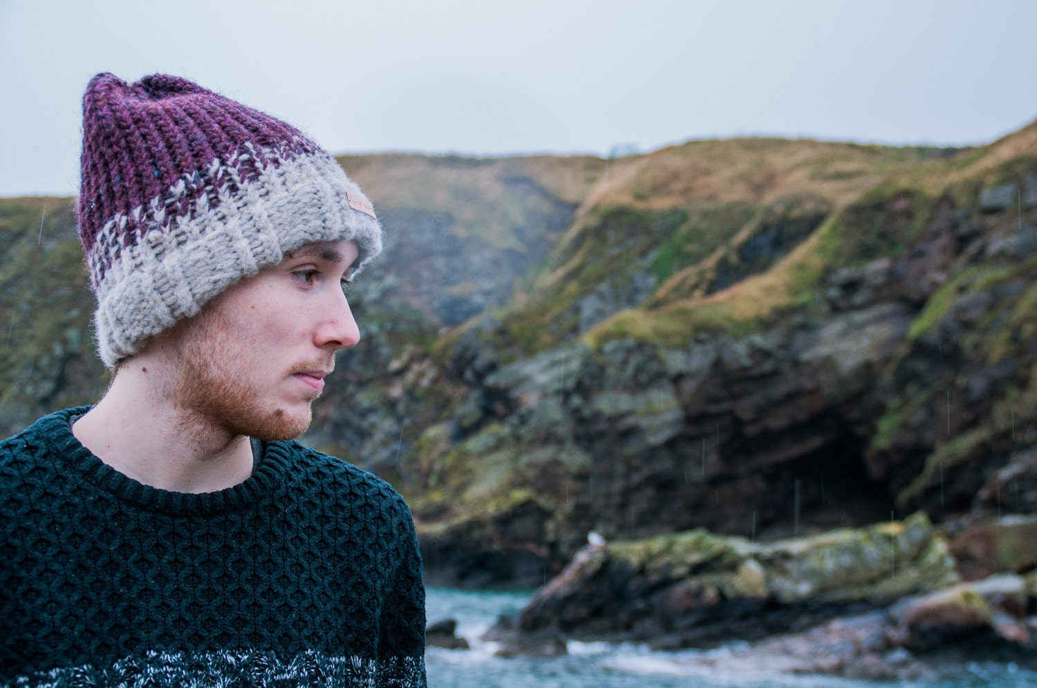 Fernweh UK REIDH Hand Knit Merino and Icelandic Wool Hat Hand knit hat scottish knit winter hat burgundy knit iceland