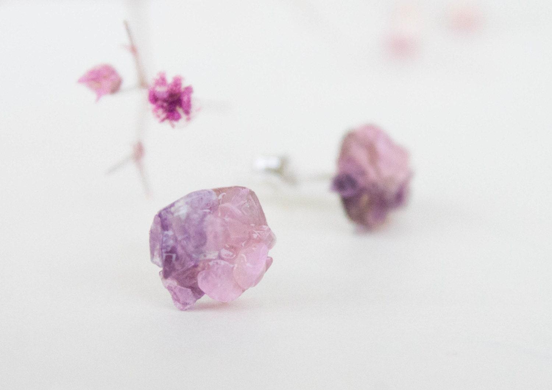Stud earrings - Spring studs - Amethyst and rose quartz stud earrings - CraftsGardenOfZen