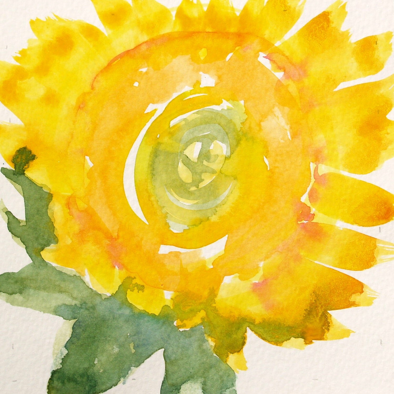 Golden Sunflower- 5x5 Original Square Flower Watercolor- Sunny summer yellow, crimson, and orange - 1ArtisanWay