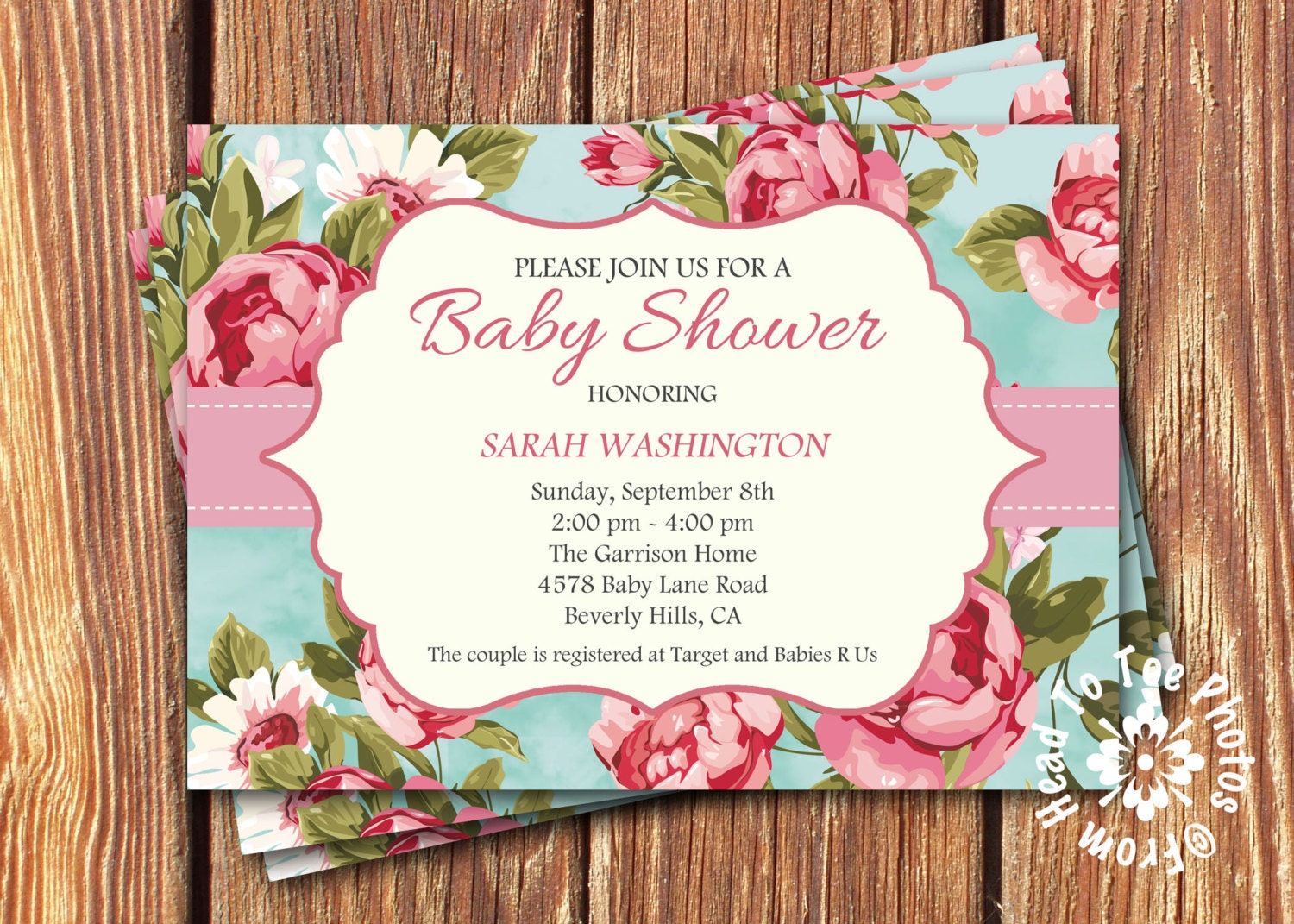 shabby chic baby shower invitations by fromheadtotoedesigns