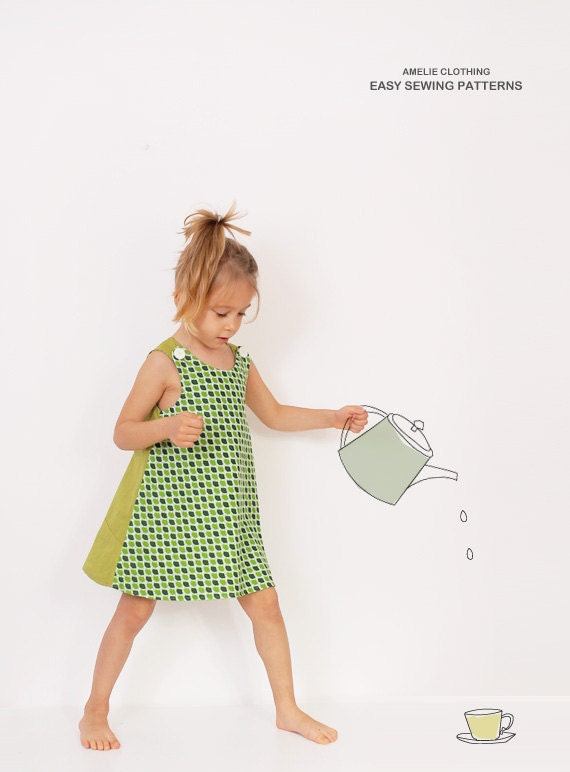 Reversible A line DRESS pattern - girls dress patterns pdf - sizes from 2 to 8 years - AmelieClothing