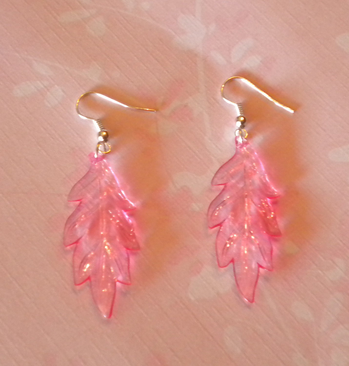 Girly Transparent Pink Plastic Leaf Dangle Earrings Cute Jewelry Nature Feathers