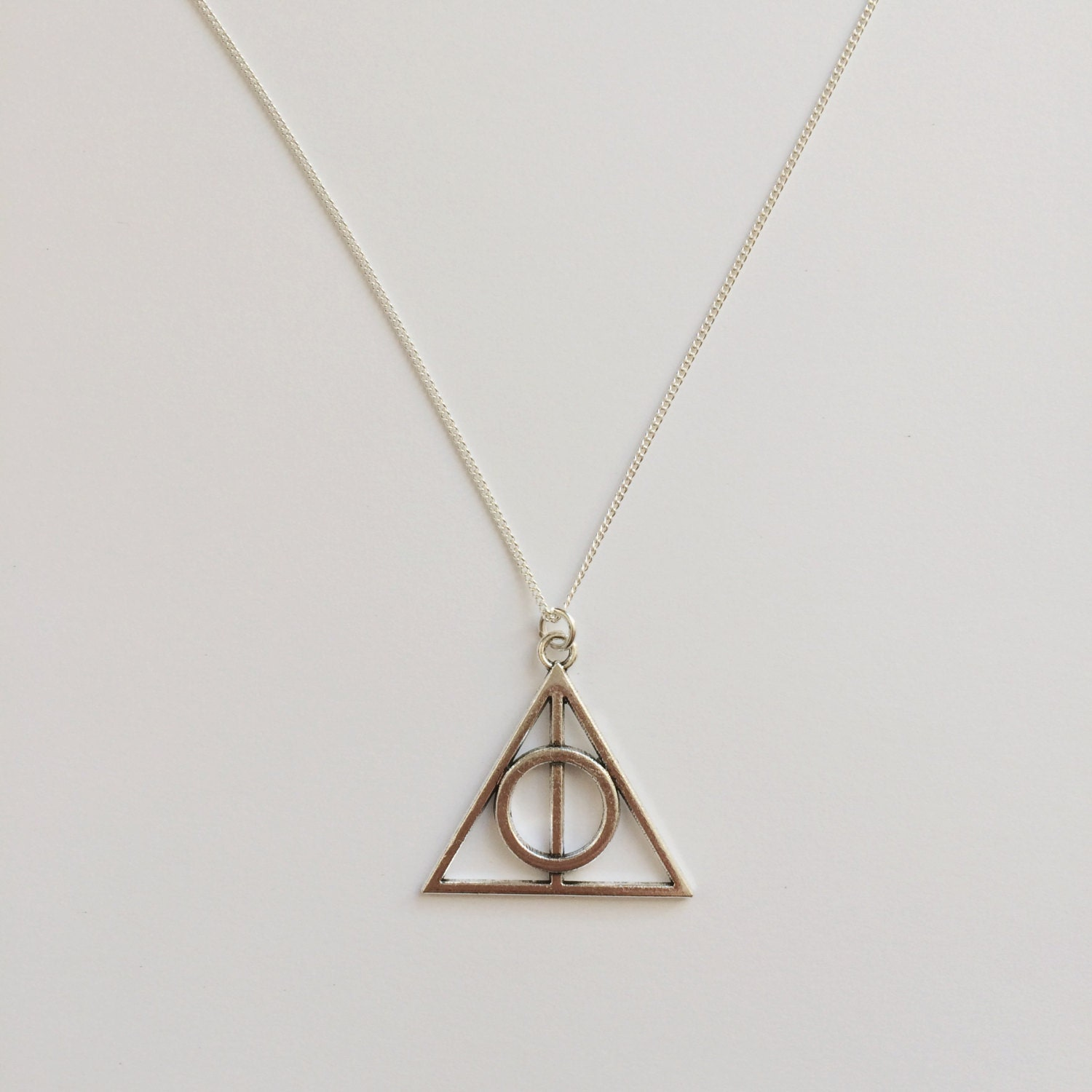 Harry Potter Inspired Charm Necklace  The Deathly Hallows Symbol  Handmade Silver Necklace