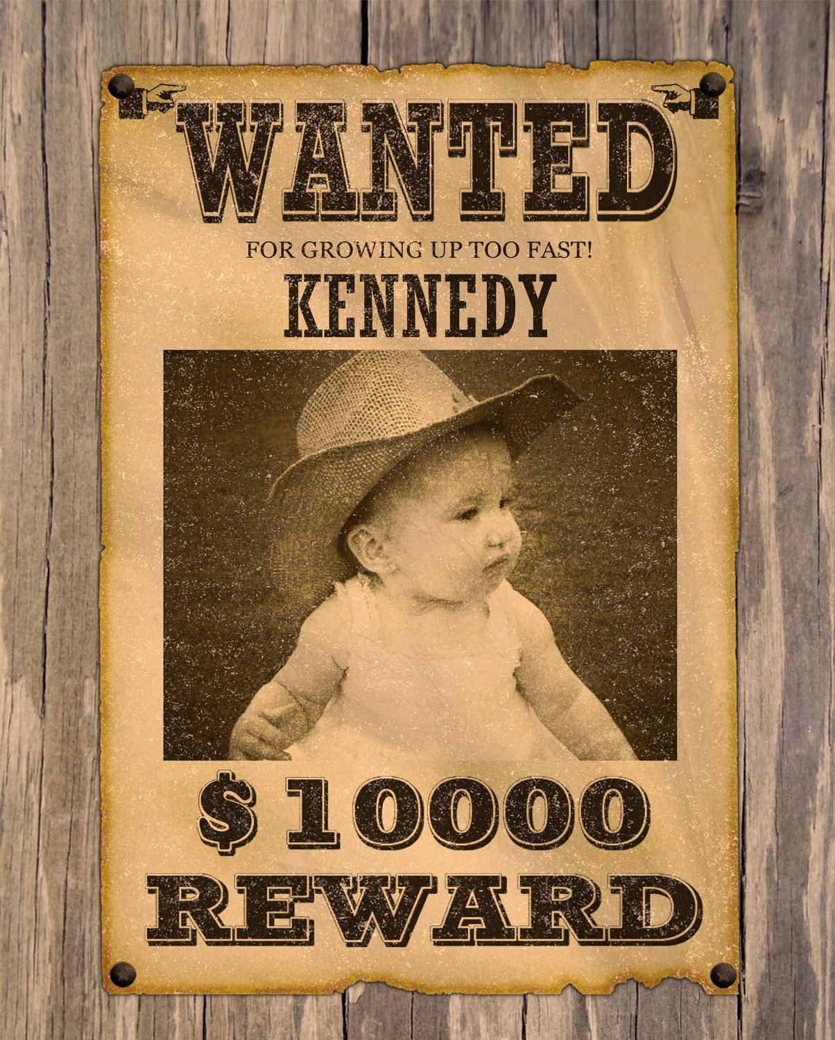 Wanted Poster Sign Western Vintage theme by jayarmada on Etsy