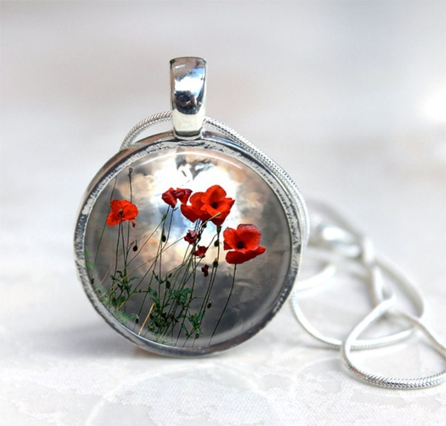 Wild Poppy Wearable Art Pendant Photo charm pendant by 4Tdesigns from etsy.com