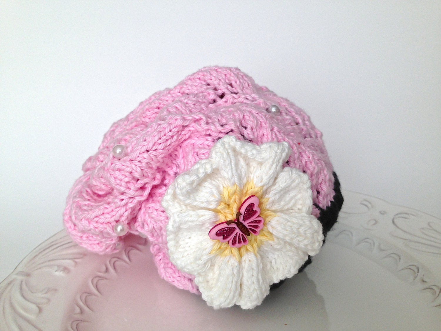 Slouchy knitted hat for baby, with flower, butterfly and beads - 100 % cotton, ready to ship - TinyLoveGifts