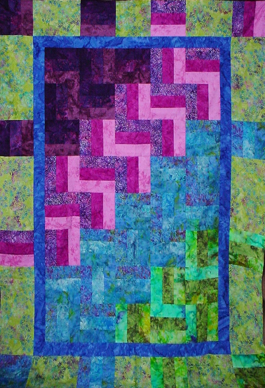 Items similar to Quilt Pattern Rainbow Rail Batik Fabric Quilting Instructions Lap Size on Etsy