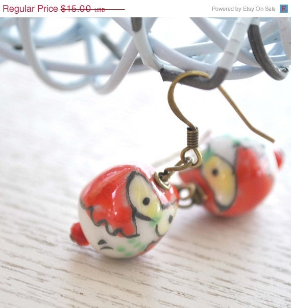 SALE Red Owl Earrings - bstrung