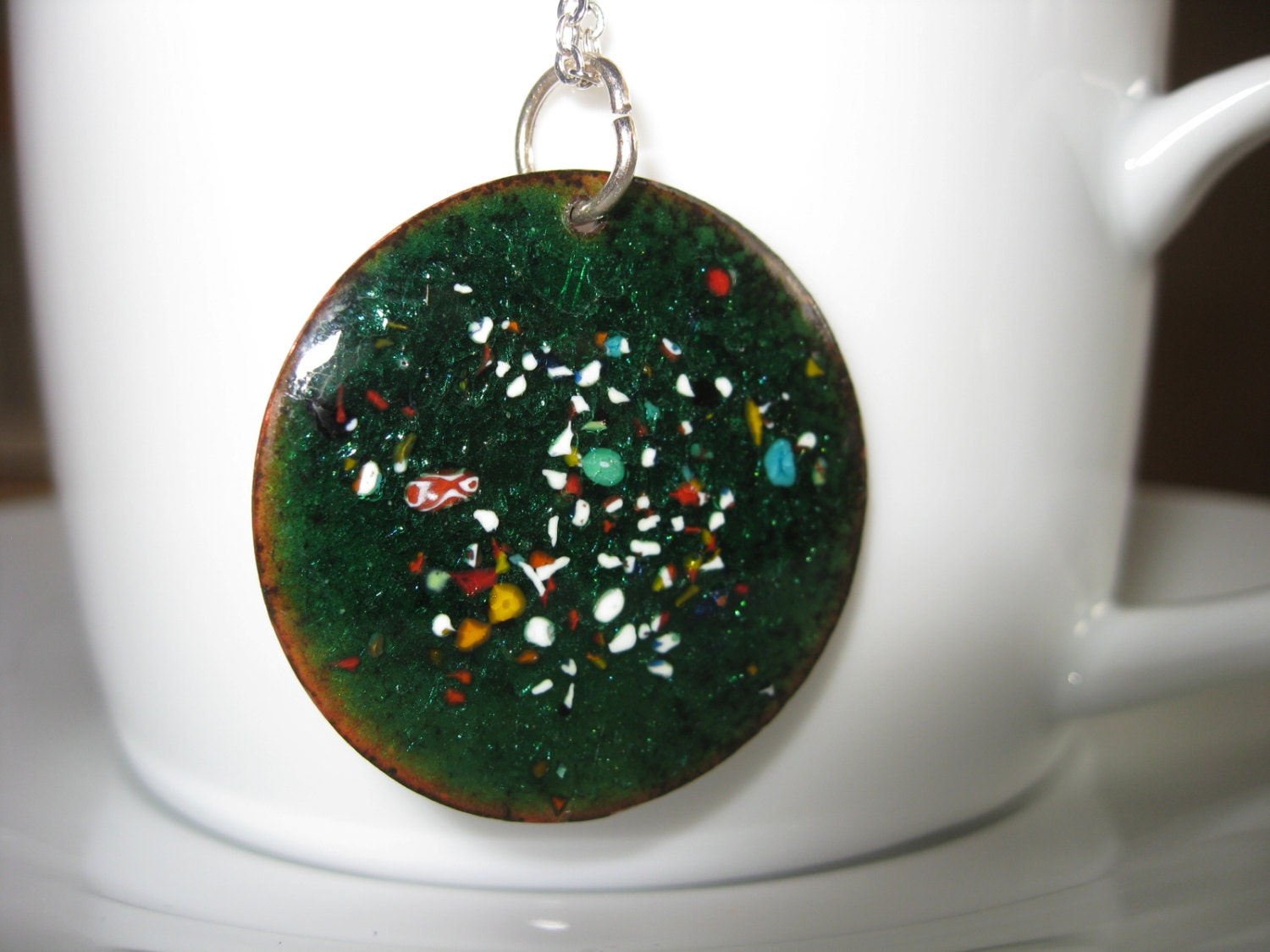 Handmade Green Enamelled Copper Pendant with Millefiori Glass - ScarletWolfJewellery