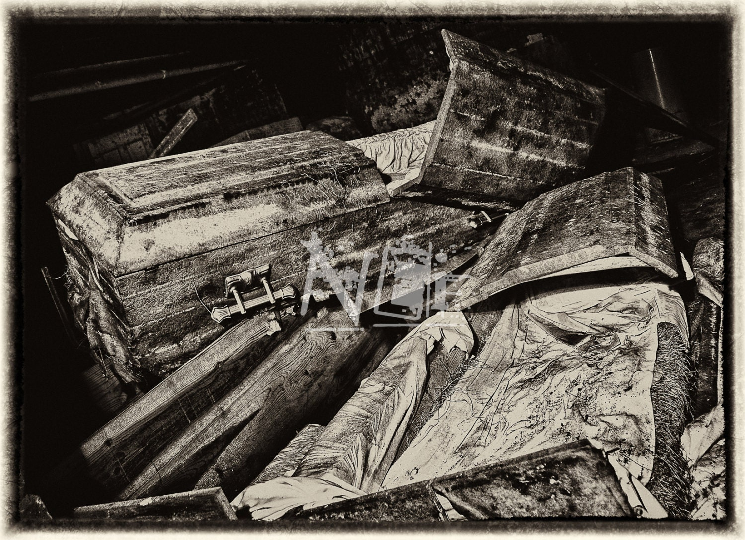 Urban Exploration Coffins and Caskets In Basement at an Abandoned Psychiatric Hospital In New York - TheArtsofTimeandLife