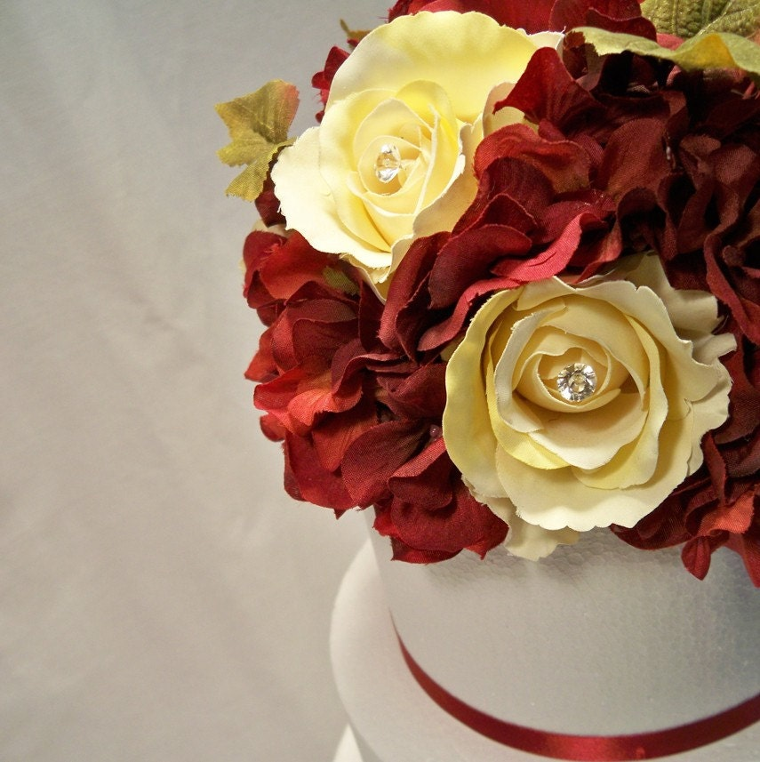 Yellow Rose Red Hydrangea Wedding Cake Topper From ItTopsTheCake