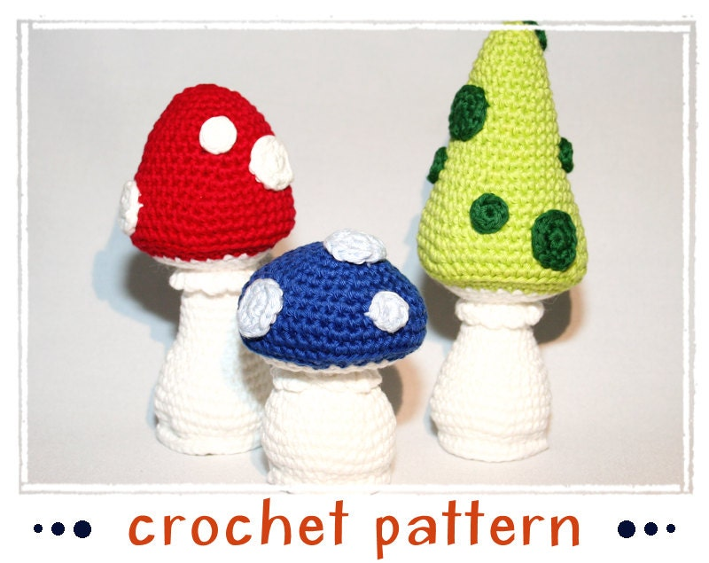 Amigurumi Mushroom Crochet Patterns : Items similar to Mushrooms - Crochet Pattern - PDF file ...