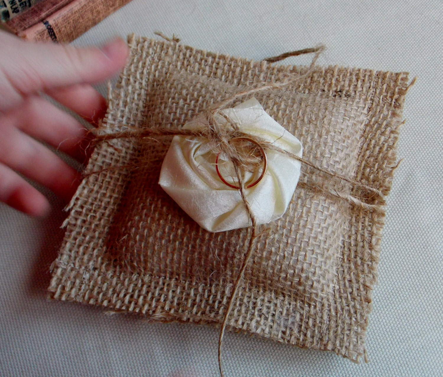 Ring Bearer Pillow Burlap Pillow Shabby Chic Rustic Wedding Ivory and Burlap Handmade Rosette Bridal