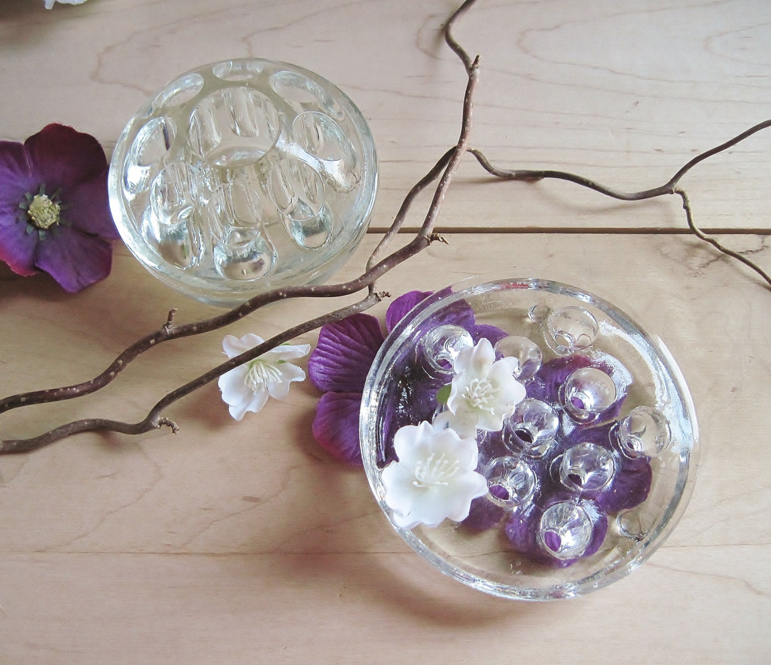 Vintage glass flower frogs ~ Floral/Garden Collectible~Sucker,Balloon, Fairy Wand,Pen Holders, Branch Display Paper Weight,Party Table Décor - FoxberryHill