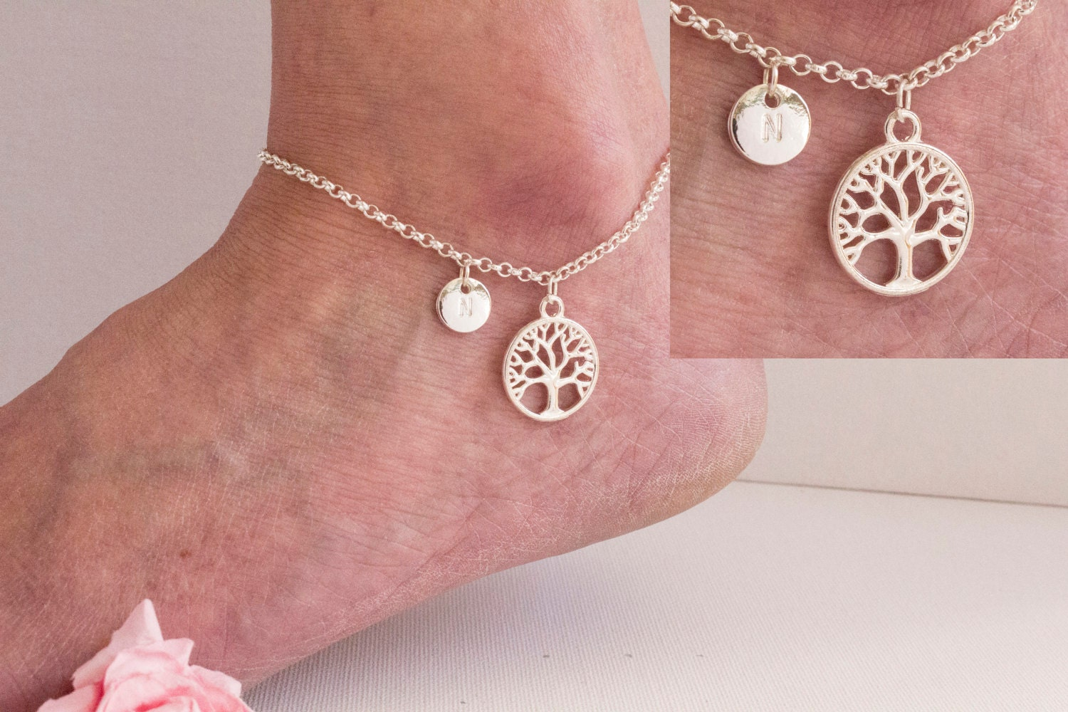 Silver tree anklet silver tree tree of life anklet ankle bracelet silver anklet anklet beach jewellery anklet SPTRAN01