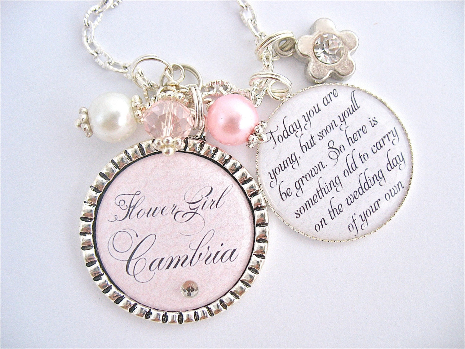 Etsy Wedding Gift Jewelry : FLOWER GIRL Gift Childrens Jewelry, Personalized Wedding PINK ...