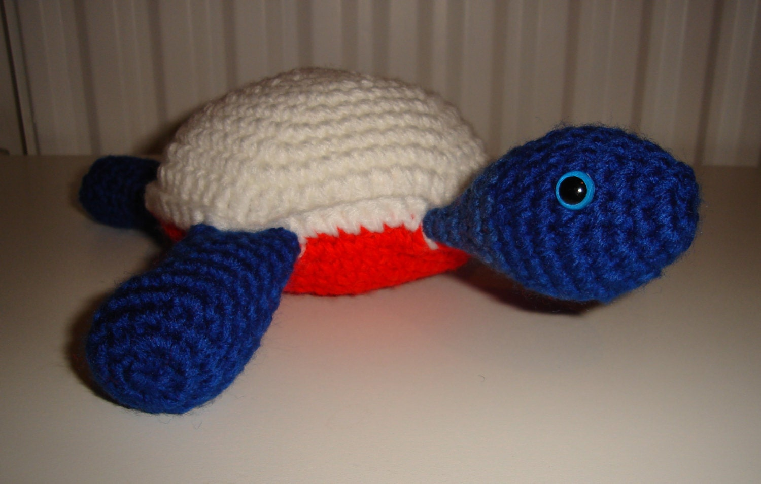 Turtle Tortoise Crochet Amigurumi Handmade Soft Toy in Red White and Blue